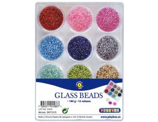 Skleněné korálky rokajl 12 barev, 180 g