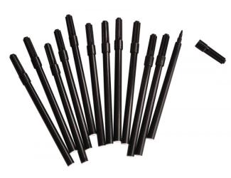 Vláknové fixy, 12 ks černé - hubené
