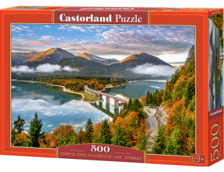 Puzzle Castorland 500 dílků - Východ nad Sylvenstein jezerem, Německo