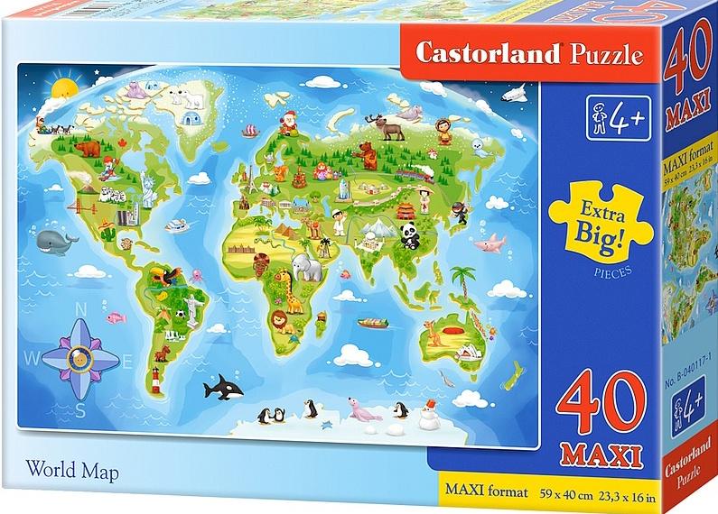 Puzzle Castorland MAXI 40 dílků - Mapa světa