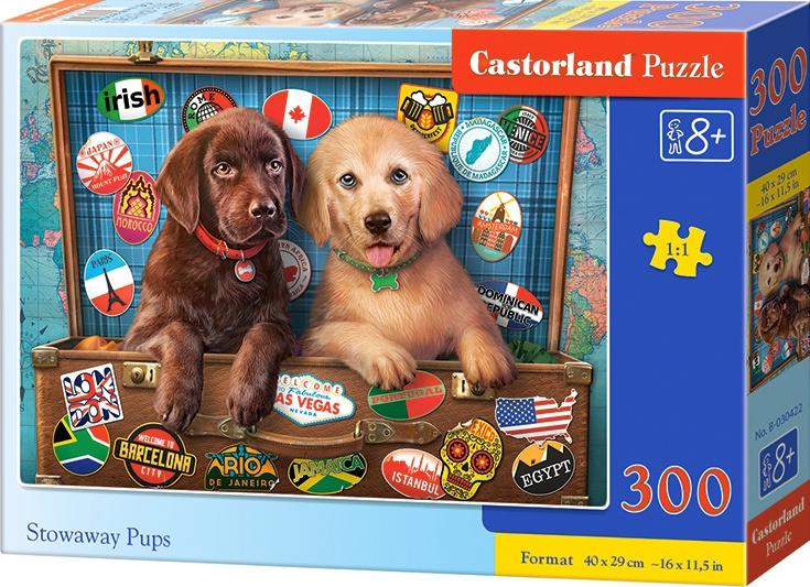 Puzzle 300 dílků- Štěnata Labradorů v kufru