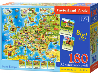 Puzzle Castorland 180d.Mapa Evropy