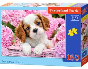 Puzzle Castorland 180 dílků - Štěně v růžových květinách