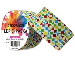 Dekorační lepicí páska - DUCT TAPE-1ks tvary červeno modro zeleno žluté
