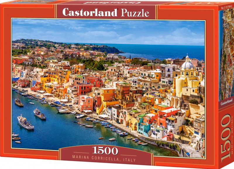 Puzzle Castorland 1500 dílků - Přístav Corricella, Italie