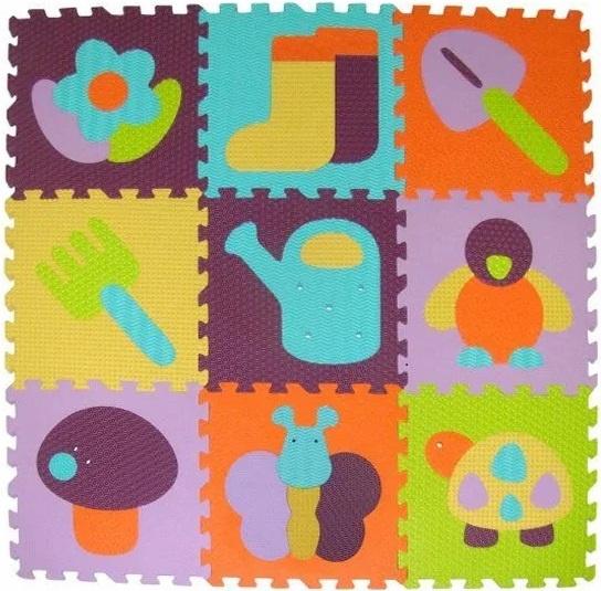 Pěnové puzzle 9 ks 30x30x1cm, zahrada
