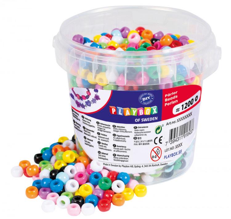 Korálky plastové v kbelíčku mix barev, 1200 ks