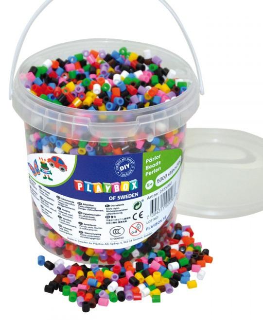 Zažehlovací korálky- 5000 ks korálků- kbelík, základní barvy
