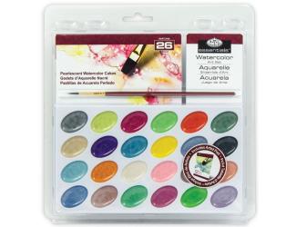 ROYAL and LANGNICKEL Akvarelové barvy perleťové 24 ks + štětec a blok akvarelových papírů