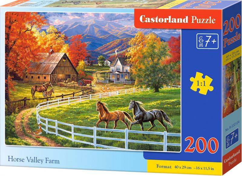 Puzzle Castorland 200 dílků premium - Koňská farma v údolí