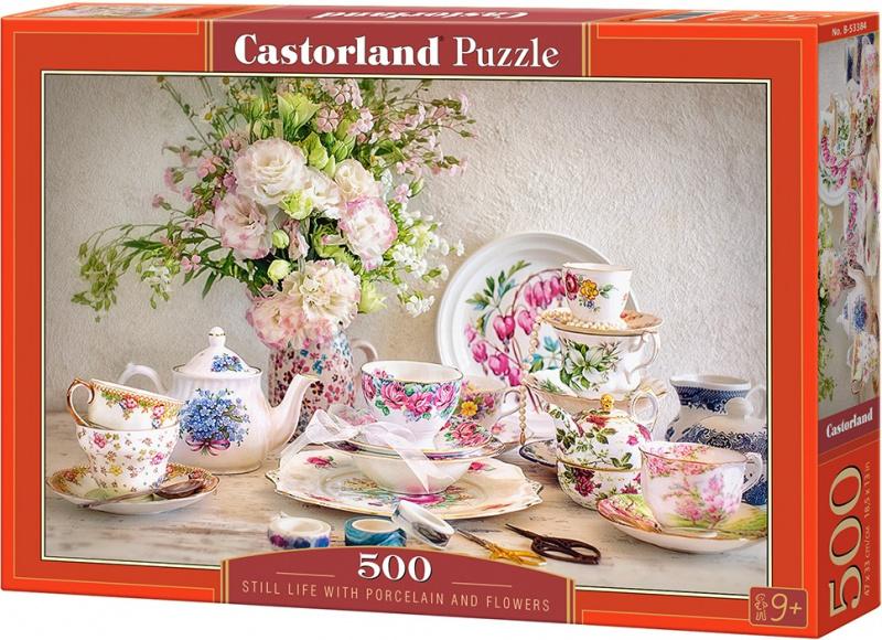 Puzzle Castorland 500 dílků - Zátiší s porcelánem a květinami