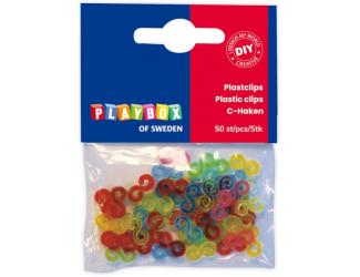 Plastové zapínání ke gumičkám ve tvaru S, mix barev, 50 ks