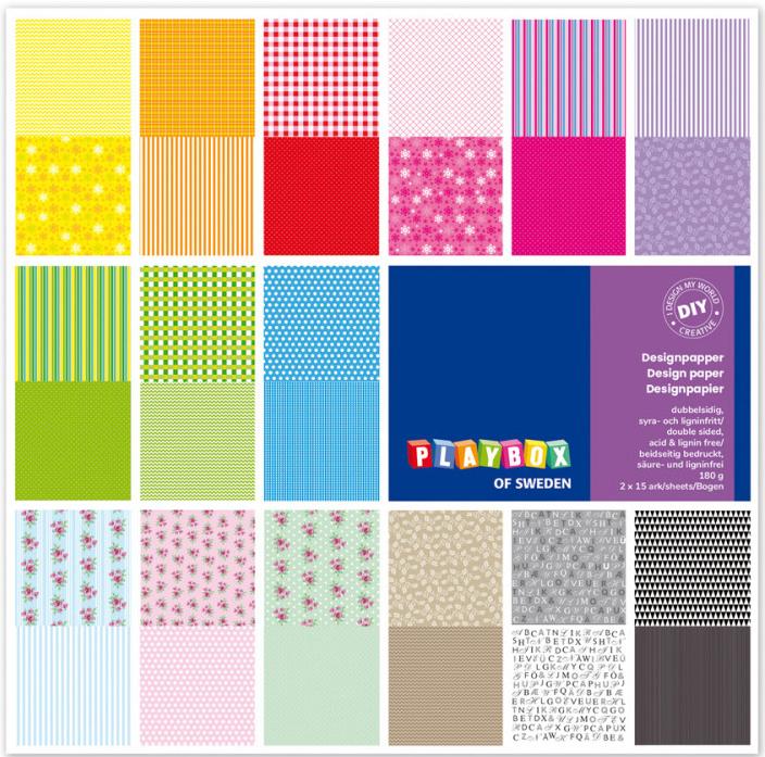Barevné papíry s motivem 305x305 mm, 30 listů, 180 g, oboustranný