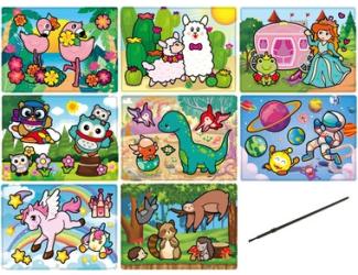 Magické malování se štětcem 20 x 15 cm, mix 8 obrázků, cena za 1ks