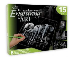 Škrabací obrázky - stříbrné( Safari)  6ks 20x25cm
