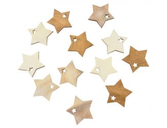 Dřevěné hvězdy hnědé a bílé 4 cm, 12 ks