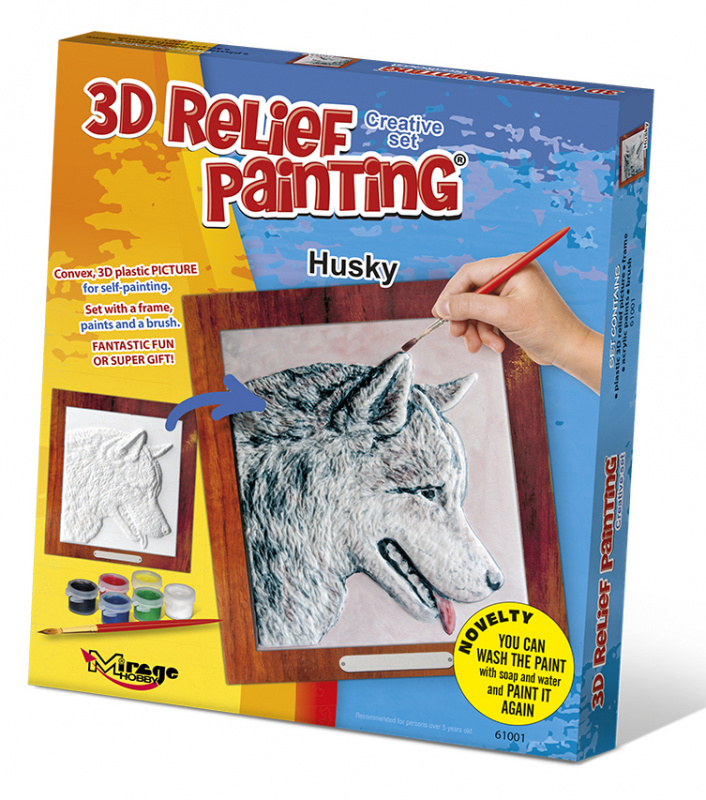 3D reliéfní obrázek 19x21cm Husky