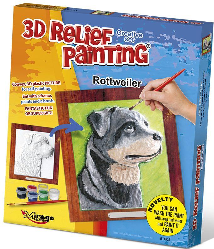 3D reliéfní obrázek 19x21cm Rotvajler