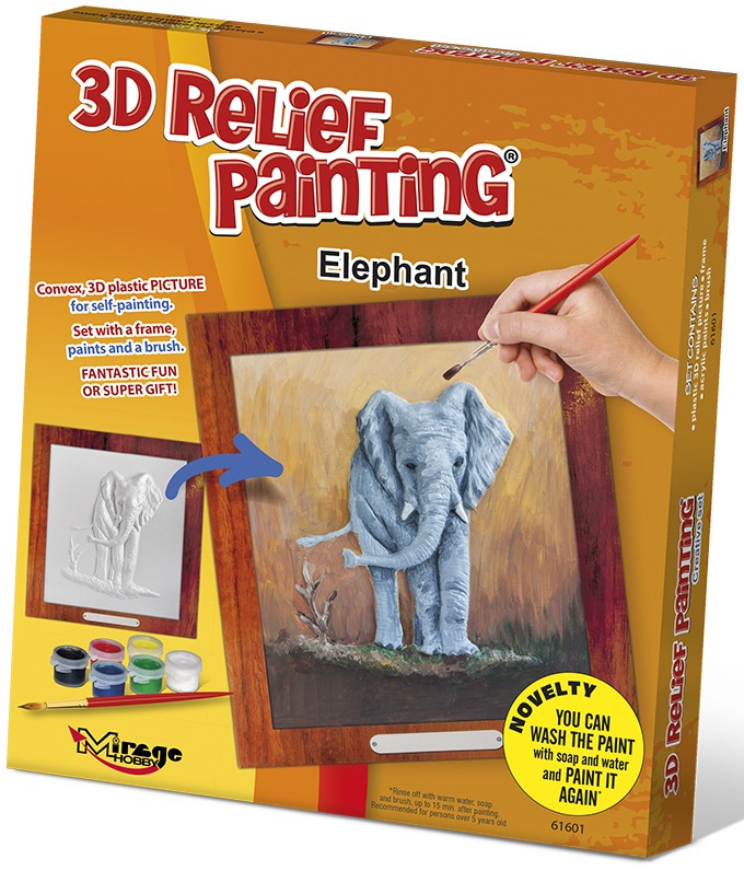 3D reliéfní obrázek 19x21cm Slon