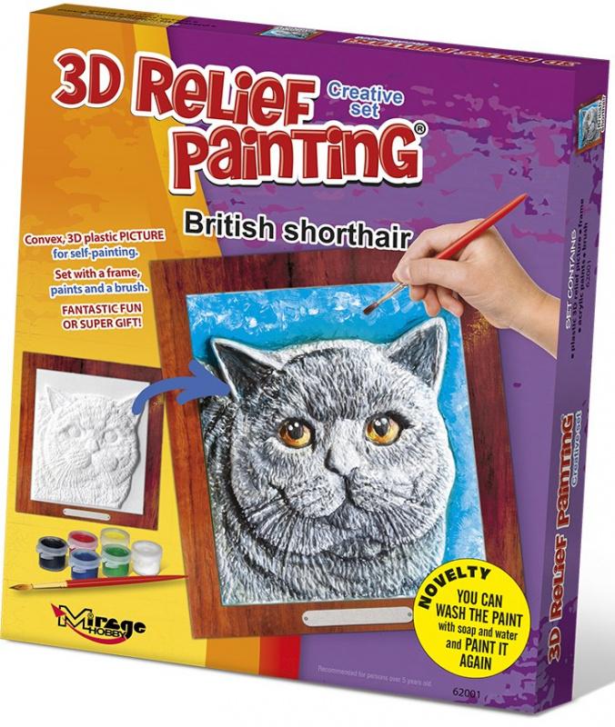 3D reliéfní obrázek 19x21cm Kočka - Britská krátkosrstá
