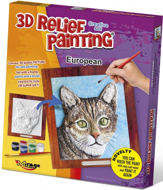 3D reliéfní obrázek 19x21cm Kočka - Evropská