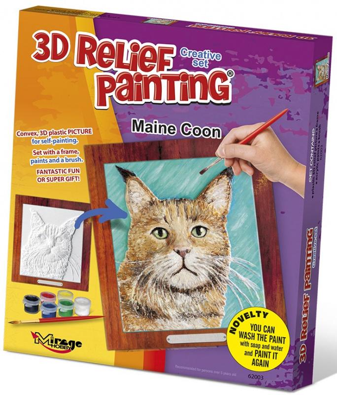 3D reliéfní obrázek 19x21cm Kočka - Mainská mývalí