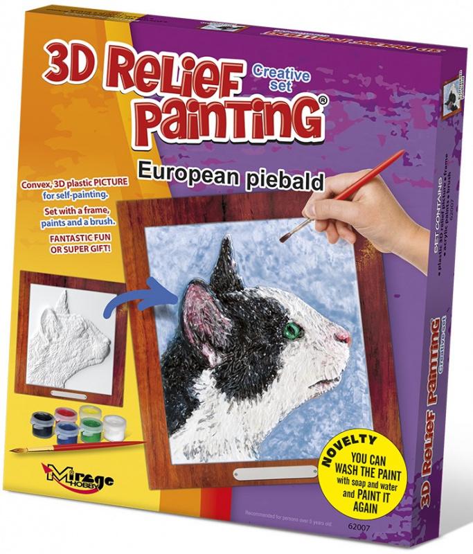 3D reliéfní obrázek 19x21cm Kočka - Evropská strakatá