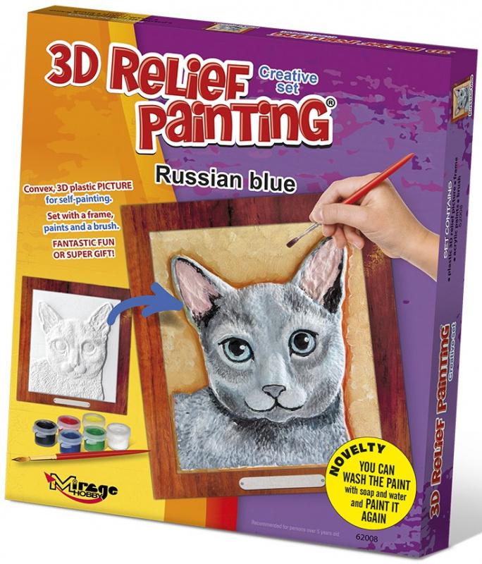 3D reliéfní obrázek 19x21cm Kočka - Ruská modrá