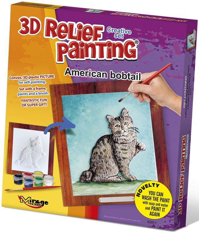 3D reliéfní obrázek 19x21cm Kočka - Americká