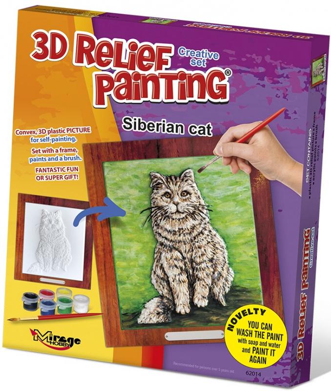 3D reliéfní obrázek 19x21cm Kočka - Sibiřská