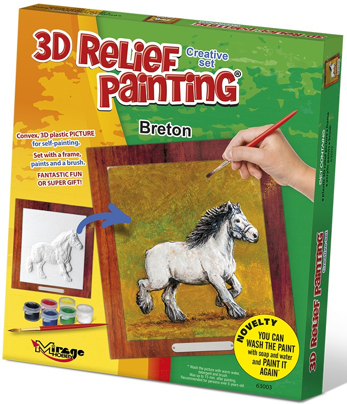 3D reliéfní obrázek 19x21cm Kůň - Bretaňský