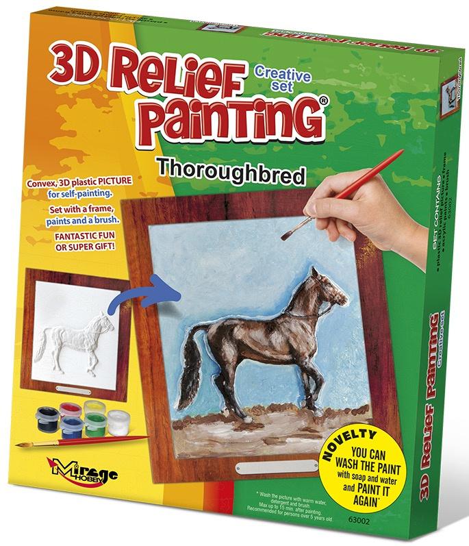 3D reliéfní obrázek 19x21cm Kůň - Plnokrevník