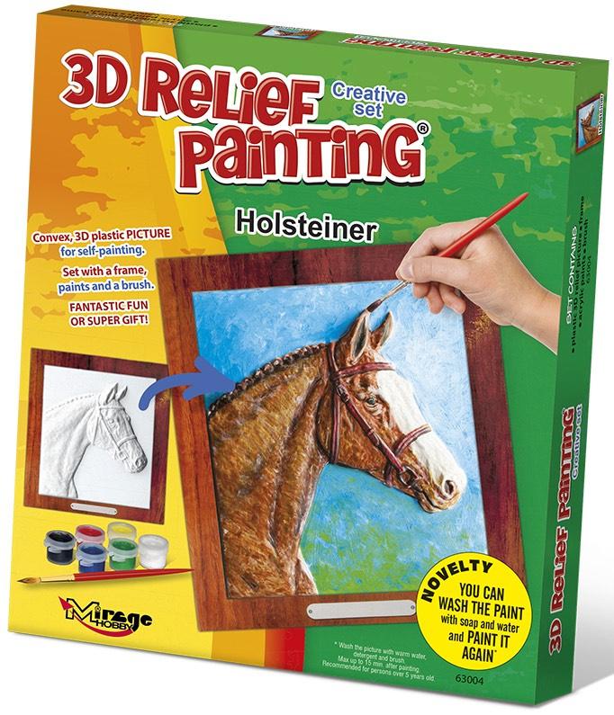 3D reliéfní obrázek 19x21cm Kůň - Holštýnský