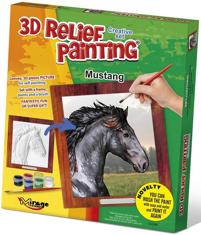 3D reliéfní obrázek 19x21cm Kůň - Mustang