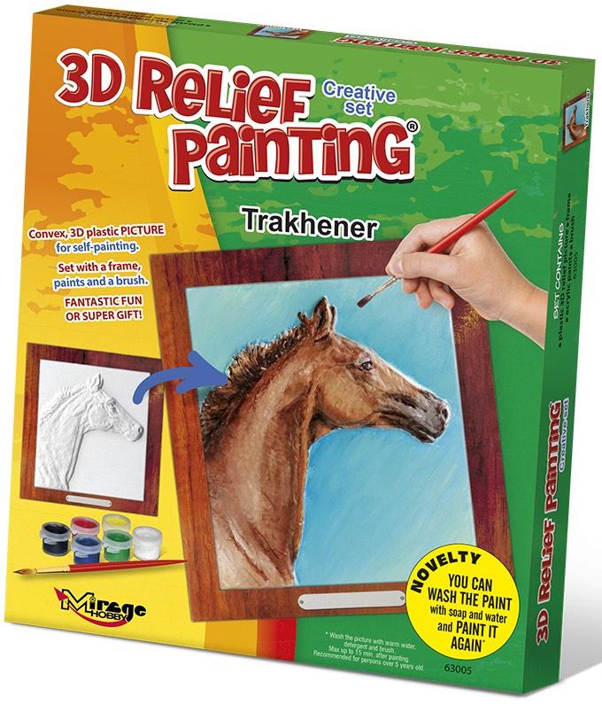 3D reliéfní obrázek 19x21cm Kůň - Trakehner