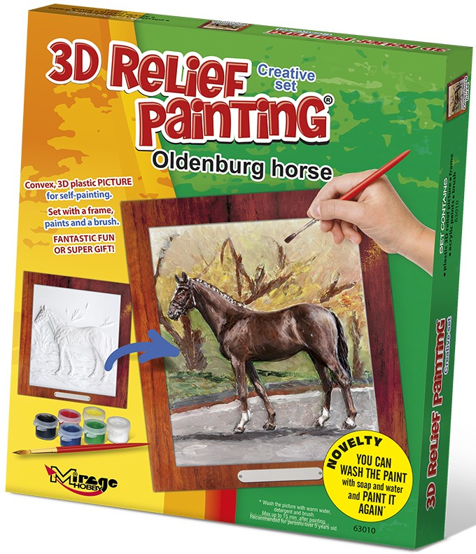 3D reliéfní obrázek 19x21cm Kůň - Oldenburský