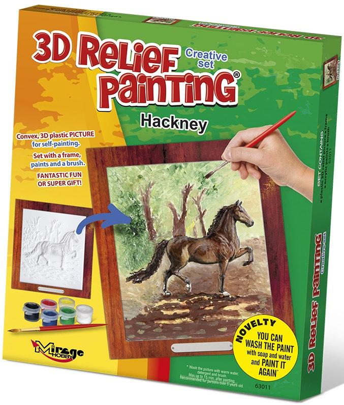 3D reliéfní obrázek 19x21cm Kůň - Hackney
