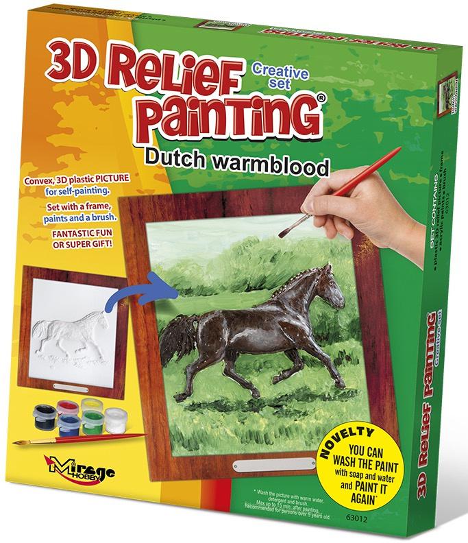3D reliéfní obrázek 19x21cm Kůň - Holandský teplokrevník