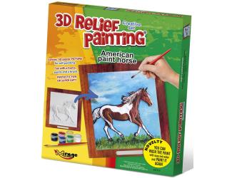3D reliéfní obrázek 19x21cm Kůň -  Americký paint