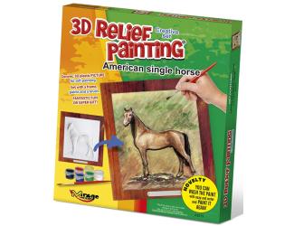 3D reliéfní obrázek 19x21cm Kůň -  Americký single