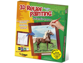 3D reliéfní obrázek 19x21cm Kůň -  Islandský