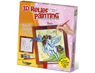 3D reliéfní obrázek 19x21cm Jednorožec - Slunce