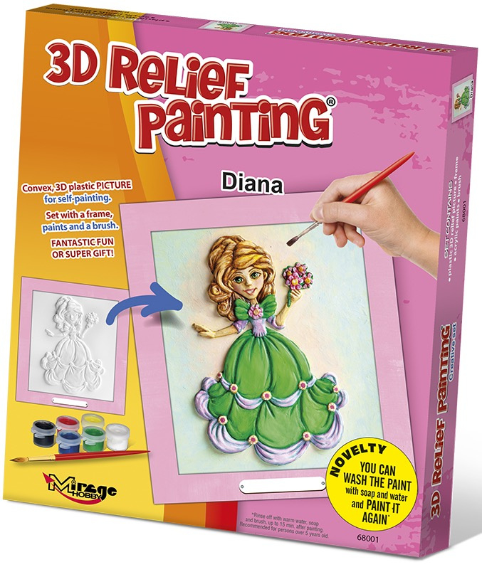3D reliéfní obrázek 19x21cm Princezna - Diana