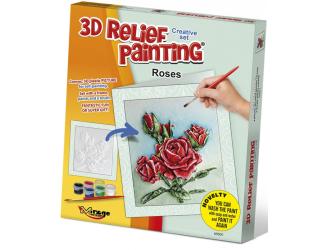 3D reliéfní obrázek - PŘÁNÍČKO 19x21cm Růže