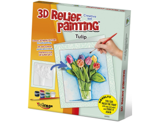 3D reliéfní obrázek - PŘÁNÍČKO 19x21cm Tulipán