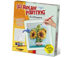 3D reliéfní obrázek - PŘÁNÍČKO 19x21cm Slunečnice