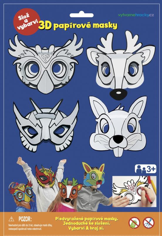3D Karnevalové masky - Sova, jelen, králíček, superhrdina