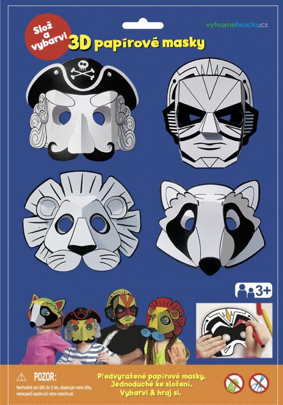 3D Karnevalové masky - Pirát , superhrdina, lev, mýval