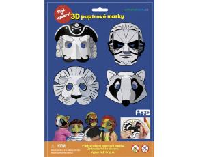 3D Karnevalové masky 4ks  - Pirát , superhrdina, lev, mýval
