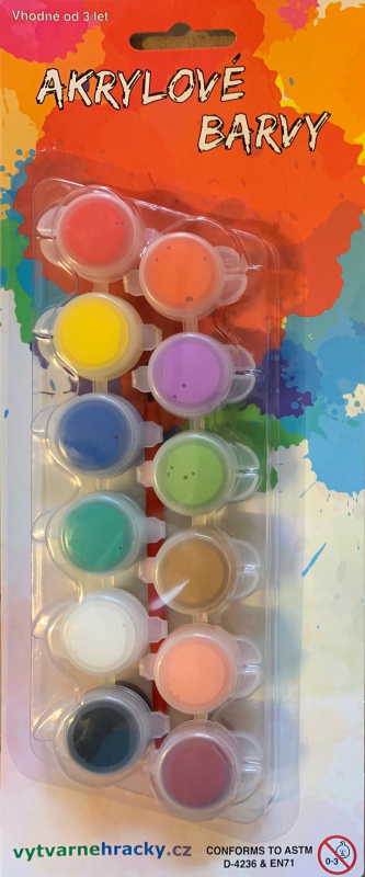 Akrylové barvy 12ks